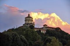 Tramonto sopra il dei Cappuccini, Torino, Italia di Monte Fotografia Stock Libera da Diritti