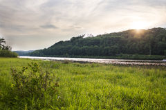 Tramonto sopra il fiume Connecticut Immagini Stock