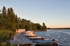 Tramonto sopra il lago Immagini Stock Libere da Diritti