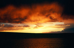 Tramonto sopra il lago Abert Fotografia Stock Libera da Diritti