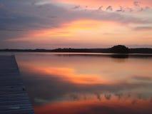 Tramonto sopra il lago Saimaa fotografia stock libera da diritti