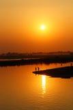 Tramonto sopra il lago Toungthamon Fotografie Stock Libere da Diritti