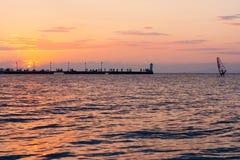 Tramonto sopra il Mar Egeo. Halkidiki, Kassandra. Immagine Stock Libera da Diritti