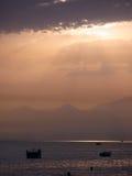 Tramonto sopra il Mar Mediterraneo Fotografia Stock