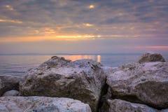Tramonto sopra il mare adriatico Immagine Stock