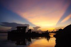 Tramonto sopra il Mekong Immagini Stock Libere da Diritti