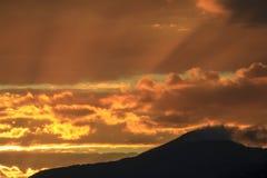 Tramonto sopra il Mt. Mansfield, VT, U.S.A. Immagini Stock Libere da Diritti