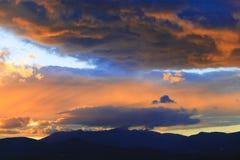 Tramonto sopra il Mt. Mansfield, VT, U.S.A. Fotografia Stock Libera da Diritti