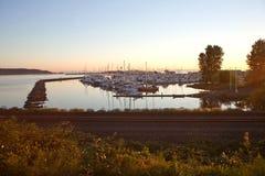Tramonto sopra il porto di Blaine Fotografie Stock Libere da Diritti
