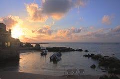 Tramonto sopra il porto di Cesarea - immagine di HDR Immagini Stock Libere da Diritti