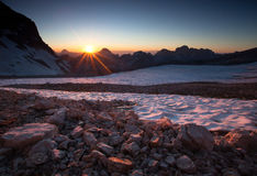Tramonto sopra Julian Alps Fotografie Stock Libere da Diritti
