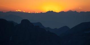 Tramonto sopra Julian Alps Fotografie Stock