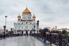 Tramonto sopra la cattedrale di Cristo il Saviuor fotografia stock libera da diritti