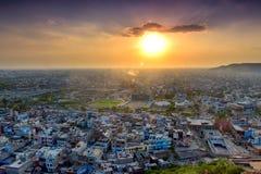 Tramonto sopra la città di Jaipur Fotografia Stock Libera da Diritti