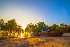 Tramonto sopra la foresta della mangrovia durante l'alta marea a Klong Mudong Phuket Fotografia Stock Libera da Diritti