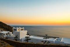 Tramonto sopra la spiaggia di elia, mykonos Fotografia Stock