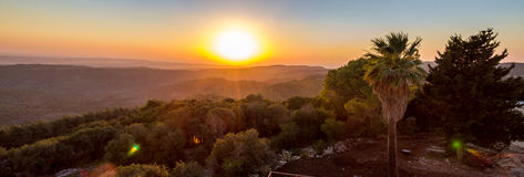 Tramonto sopra la valle di Jezreel Immagini Stock Libere da Diritti
