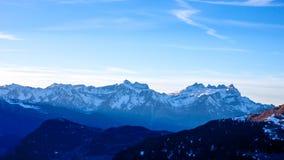 Tramonto sopra le alpi di inverno Immagine Stock Libera da Diritti