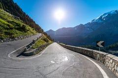 Tramonto sopra le alpi Passo Stelvio delle montagne Fotografie Stock Libere da Diritti