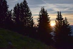 Tramonto sopra le alpi svizzere Fotografia Stock Libera da Diritti