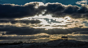 Tramonto sopra le dune Immagini Stock