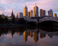 Tramonto sopra Melbourne Immagine Stock Libera da Diritti
