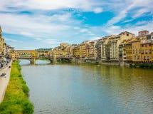 Tramonto sopra Ponte Vecchio immagine stock