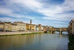 Tramonto sopra Ponte Vecchio immagine stock libera da diritti