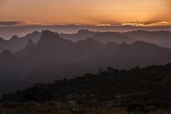 Tramonto sopra Shira Plateau, Kilimanjaro Fotografia Stock