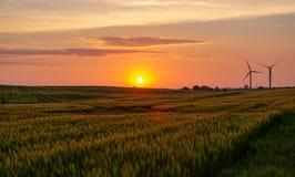 Tramonto sopra un campo o un prato con i mulini a vento nei precedenti fotografia stock