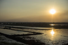 Tramonto sopra un giacimento del riso Fotografia Stock Libera da Diritti