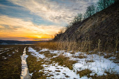 Tramonto sopra un paesaggio di inverno in Pensilvania Immagine Stock