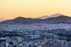 Tramonto sopra vista di Atene, Grecia, Atene da sopra, Fotografie Stock