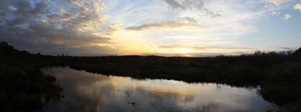 Tramonto sopra Webb Creek Panorama fotografia stock