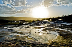 Tramonto sopra Yellowstone Fotografie Stock Libere da Diritti