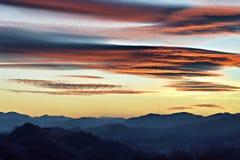 Tramonto sopra Zagorje, Croazia Immagine Stock Libera da Diritti
