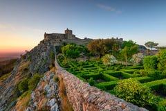 Tramonto stupefacente al castello Marvao, l'Alentejo Fotografia Stock