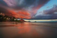 Tramonto stupefacente all'isola delle Mauritius Fotografia Stock Libera da Diritti