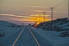 Tramonto su HDR ferroviario fotografia stock