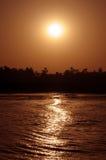 Tramonto su Nilo Fotografia Stock Libera da Diritti