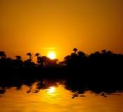 Tramonto su Nilo Fotografie Stock Libere da Diritti