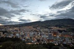 Tramonto su San Juan de Pasto City fotografie stock libere da diritti