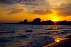 Tramonto su un Mar Nero Fotografia Stock Libera da Diritti