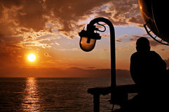 Tramonto su un traghetto Fotografie Stock Libere da Diritti