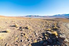 Tramonto sugli altopiani andini desertic, Bolivia del sud Fotografie Stock