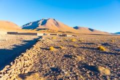 Tramonto sugli altopiani andini desertic, Bolivia del sud Fotografia Stock Libera da Diritti
