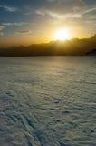 Tramonto sugli più alti picchi delle alpi Dal ghiacciaio del Cervino, Z Immagini Stock