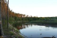 Tramonto sul fiume Immagine Stock Libera da Diritti