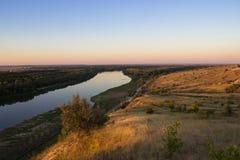 Tramonto sul fiume Don di estate Fotografia Stock Libera da Diritti