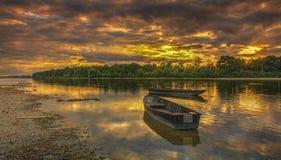 Tramonto sul fiume Loira in Francia Immagini Stock